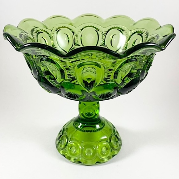 Vintage LE Smith green moon and stars compote